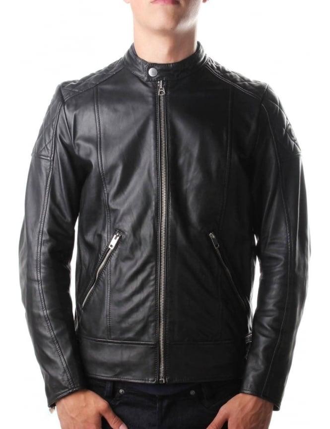 9f851aa51 Diesel L-Marton Men's Leather Biker Jacket Black