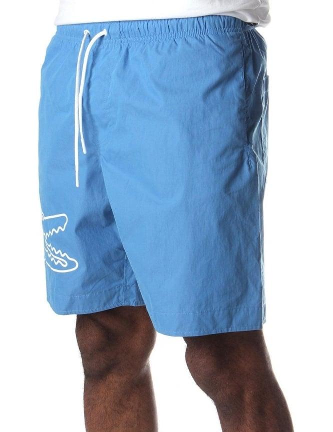 f7637693e527 Lacoste Crocodile Print Men s Swim Shorts Blue