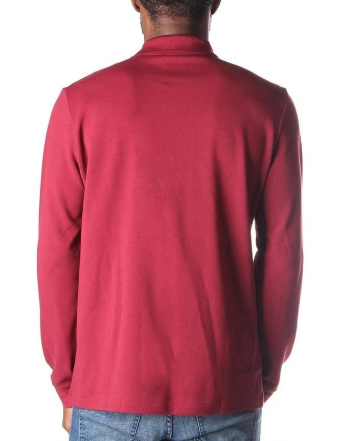 19e9fd54 Lacoste L1312 Men's Long Sleeve Polo Top Wine