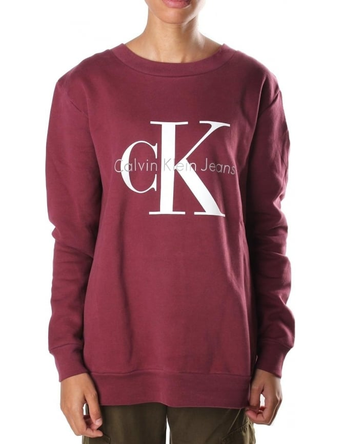 f5f0982bc24 Calvin Klein Logo print Women's Crew Neck Sweat Top Tawny Port