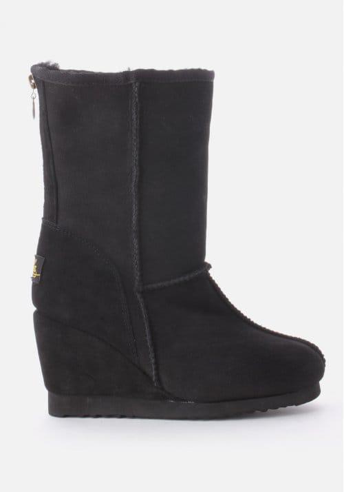 Short Zip Wedge Heel Women S Boots Black