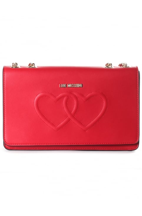 Women's Hearts Flapover Bag Red