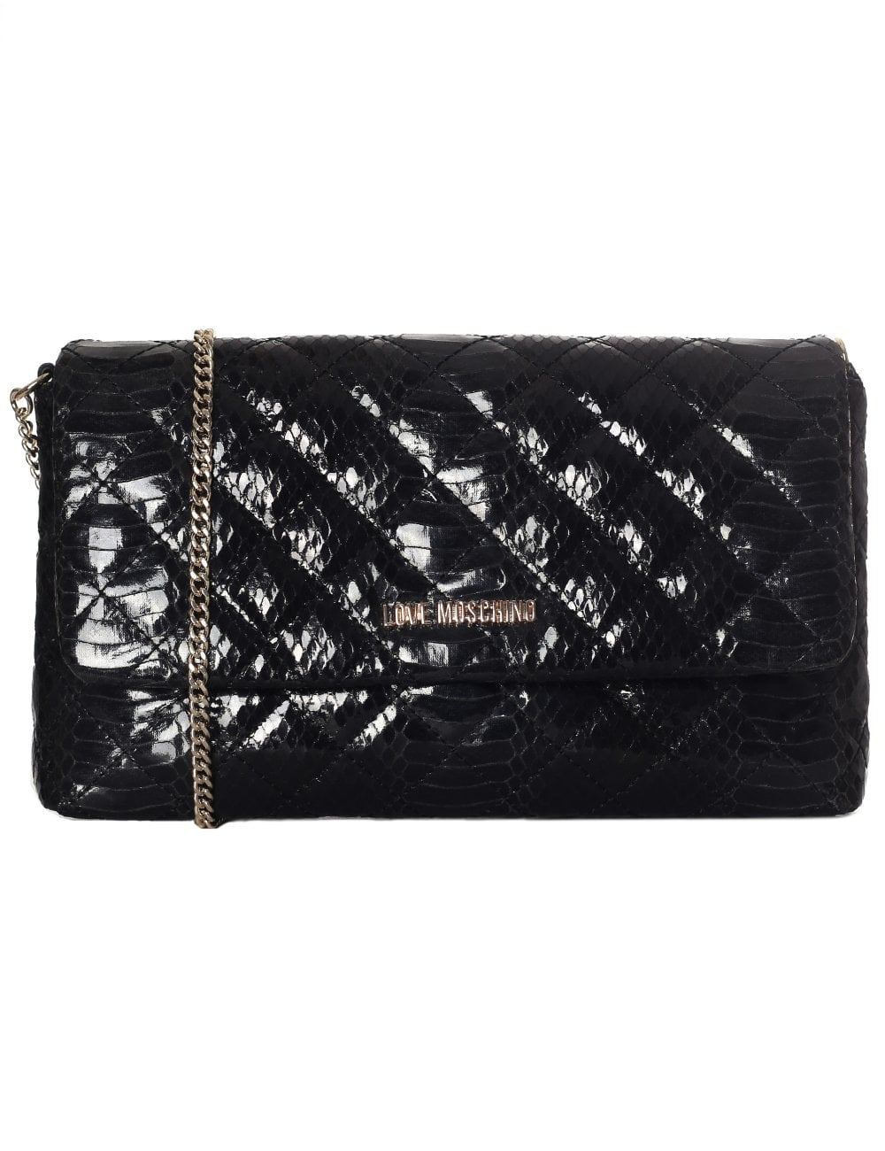 36803bfd834c Love Moschino Women s Quilted Clutch With Chain Black