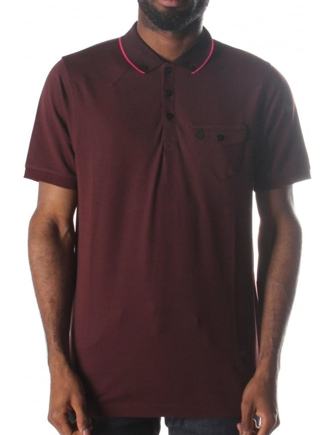 Luke 1977 Landbrights Striped Collar Men's Polo Top Port Royale
