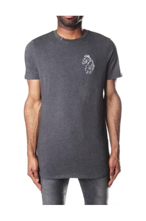 Long Length Men's Crew Neck Tee Marl Charcoal