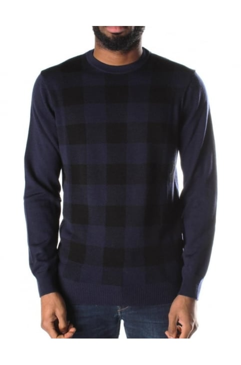 Crew Neck Men's Block Check Knit Navy