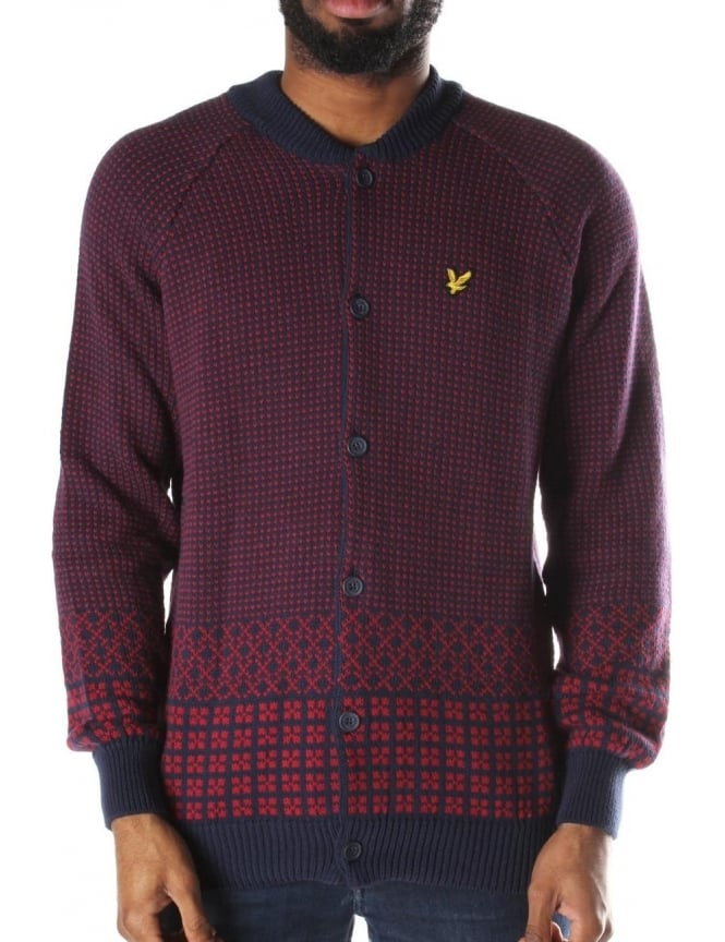 Lyle & Scott Fairisle 5GG Men's Bomber Cardigan Navy