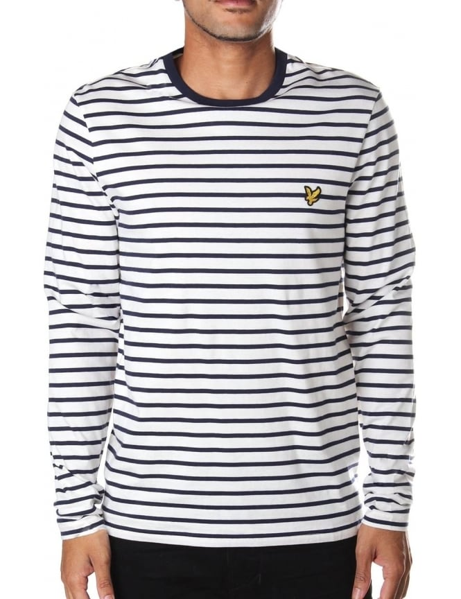 d01c51a6b0 Lyle & Scott Men's Long Sleeve Breton Stripe T-Shirt