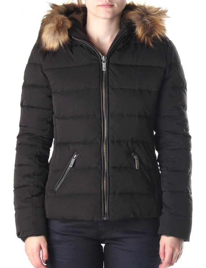 58a9c65cfa6ba Maison Scotch Short Fitted Women's Quilted Jacket Black