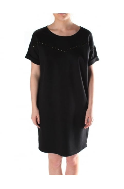 Short Sleeve Women's Short Sleeve Sweat Dress Black