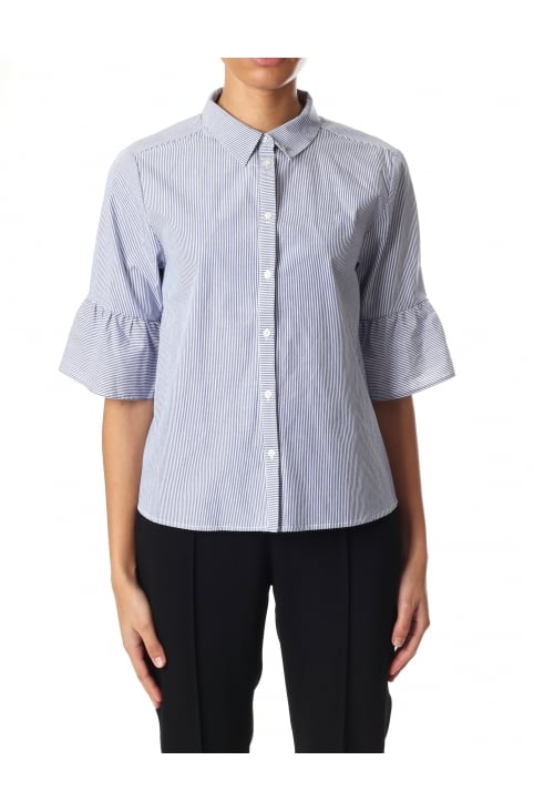 Women's Shirt With Ruffles & Flute Sleeves