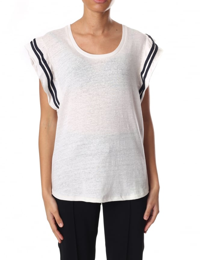 Maison Scotch Women's Tee With Jersey Ruffle Sleeves