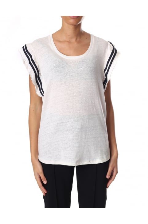 Women's Tee With Jersey Ruffle Sleeves