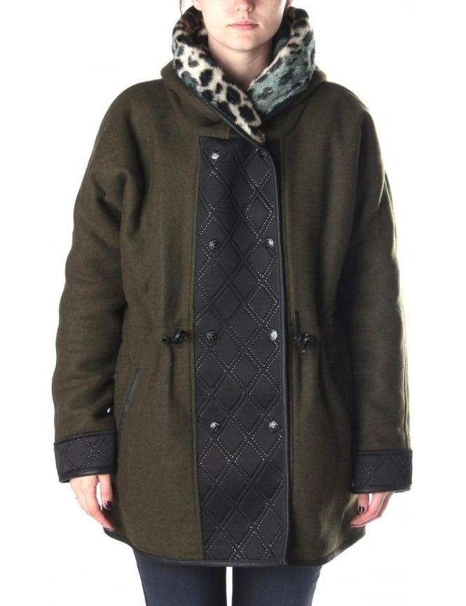 maison scotch wool hooded women 39 s parka jacket khaki. Black Bedroom Furniture Sets. Home Design Ideas