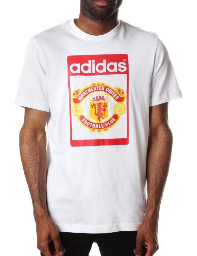 739148f32 Manchester United Football Club Tongue Logo Crew Neck T-shirt White