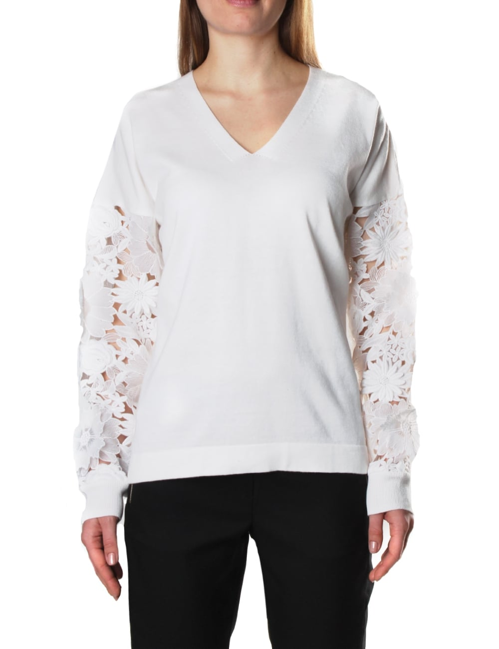 0e5e46a93fb49 French Connection Manzoni 3D Floral Laced Sleeve Women's Jumper