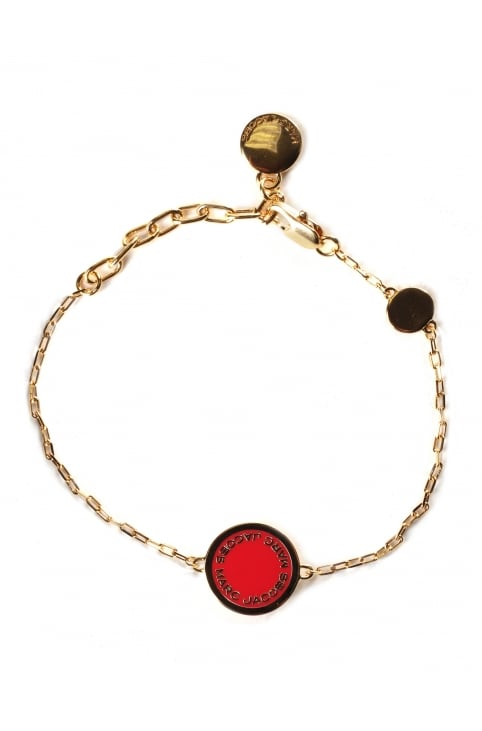 Enamel Logo Disc Women's Bracelet Red