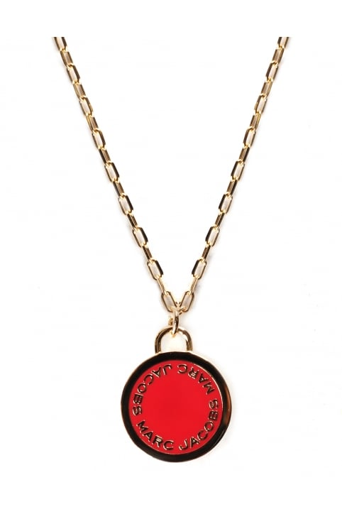 Enamel Logo Disc Women's Pendant Red