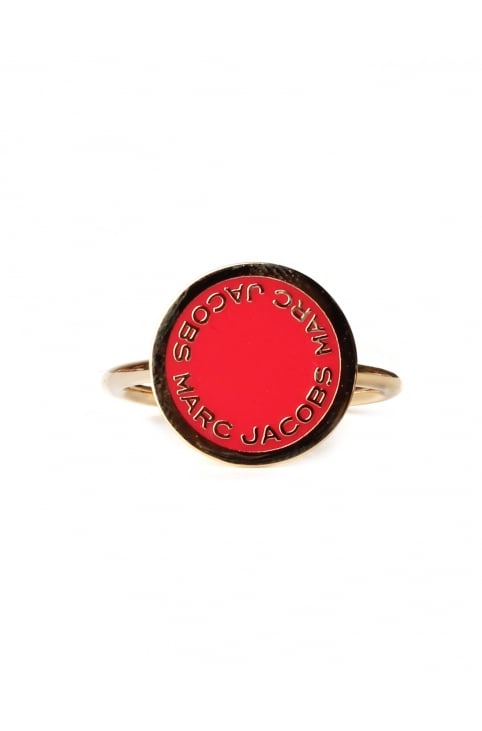Enamel Logo Disc Women's Ring Red