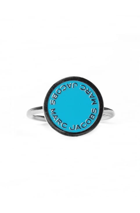 Enamel Logo Disc Women's Ring Blue