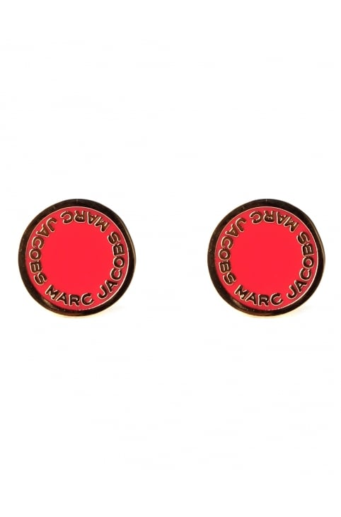 Enamel Logo Women's Disc Studs Red