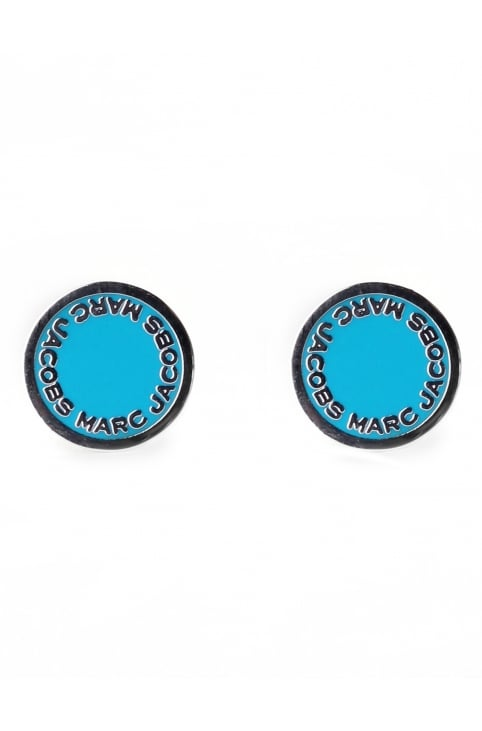 Enamel Logo Women's Disc Studs Blue