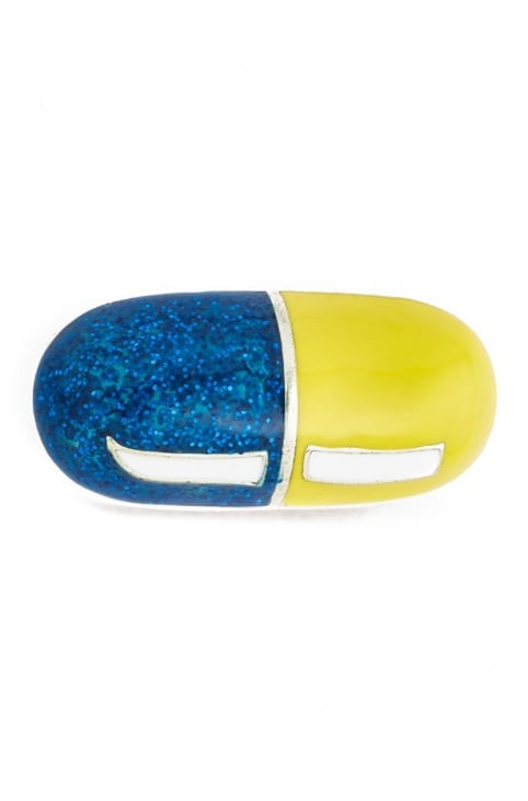 Enamel Pill Women's Brooch Blue Multi