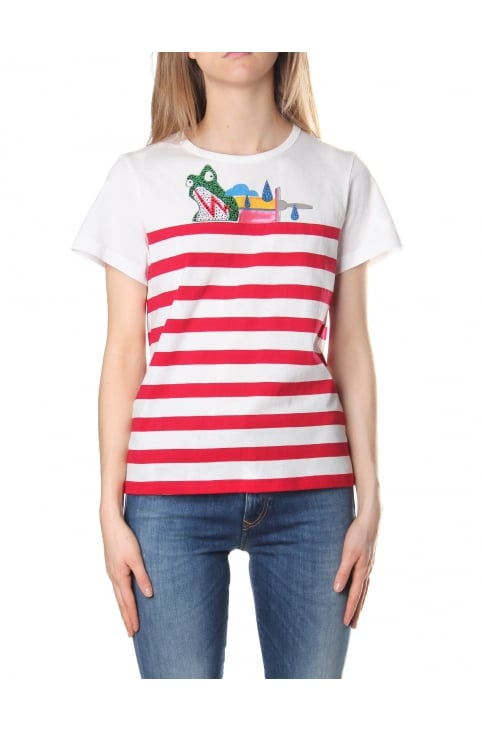 Julie Verhoeven Women's Cartoon Stripe Tee Red Multi