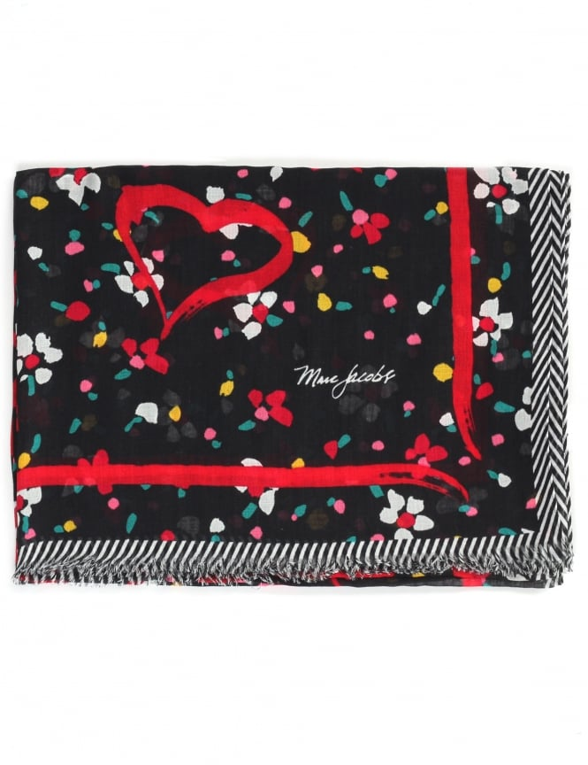Marc Jacobs Painted Flower & Hearts Women's Scarf