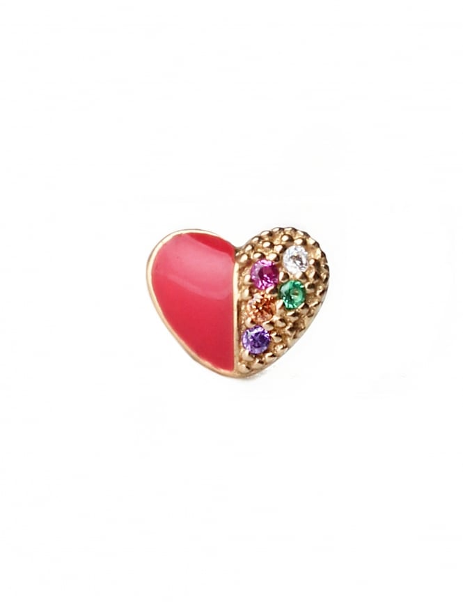 Marc Jacobs Rainbow Heart Women's Single Stud Earring