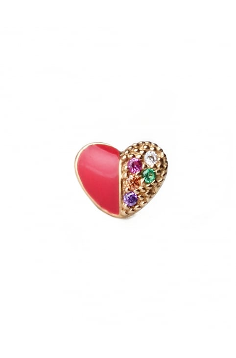 Rainbow Heart Women's Single Stud Earring Red Multi