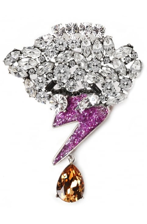 Strass Cloud And Bolt Women's Brooch Purple Multi
