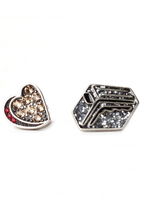 Strass Toaster Women's Stud Earrings Silver Multi