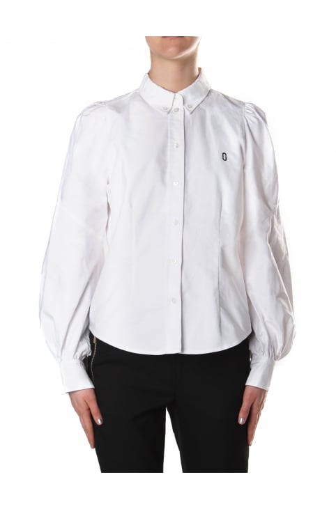 Women's Bishop Sleeve Button Down Blouse White