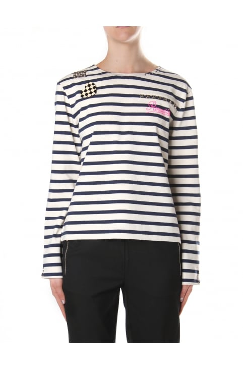 Women's Boat Neck Long Sleeve Top Ecru/Navy