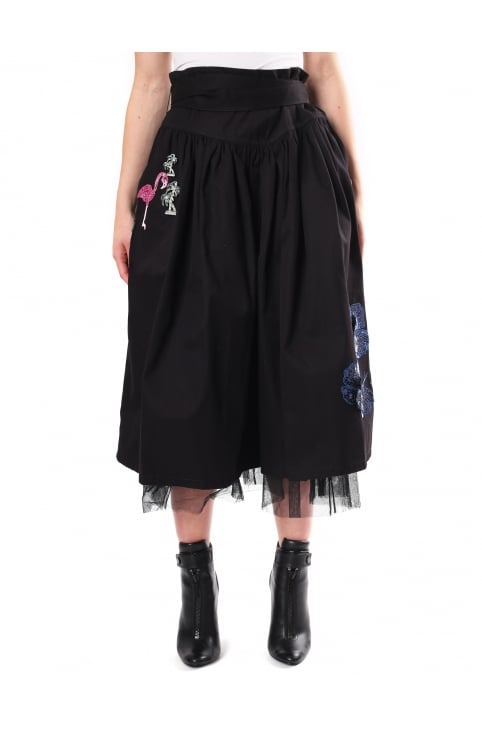 Women's Cotton Twill Full Skirt With Embellishments