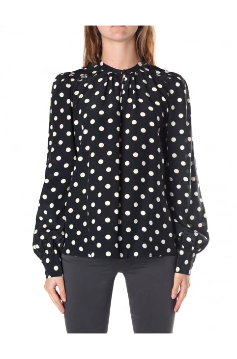 Women's Keyhole Bishop Sleeve Blouse