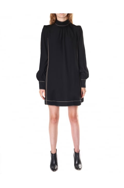 Women's Mock Neck Long Sleeve Shift Dress