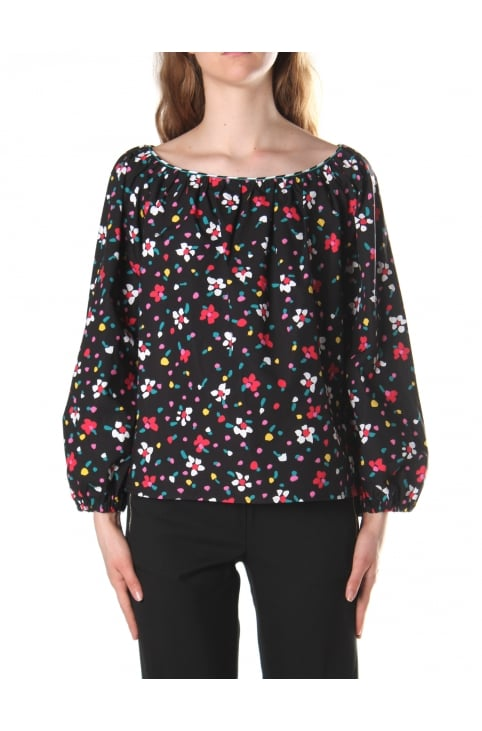 Women's Painted Flower Peasant Blouse