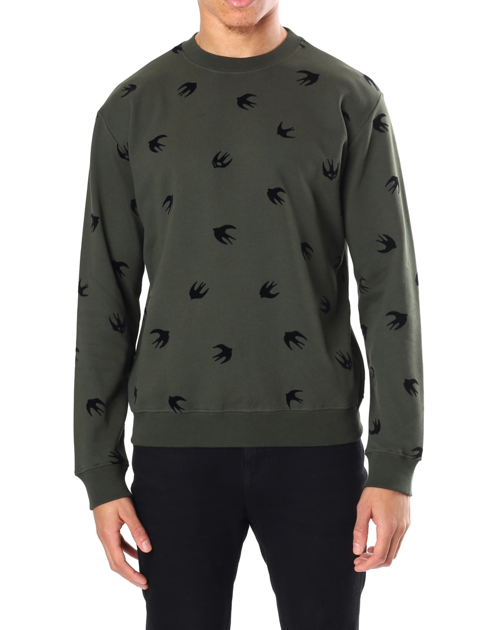 e2c4fd4c8474 McQ by Alexander McQueen Men s Small Flock Swallow Sweatshirt