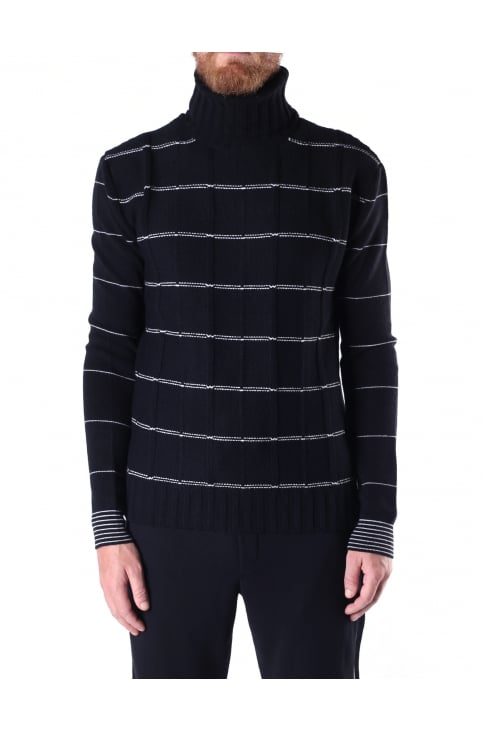 Men's Striped Roll Neck Knit