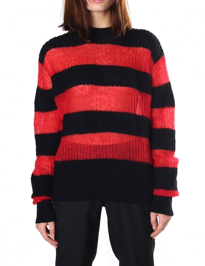 McQ by Alexander McQueen Women's Brushed Stripe Crew Neck Knit