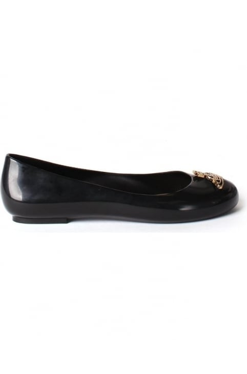 Divine Women's Orb Logo Detail Slip On Shoe Black