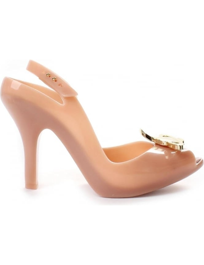 Melissa Lady D Women's Logo Detail Heeled Shoe Nude