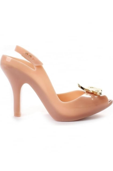 Lady D Women's Logo Detail Heeled Shoe Nude