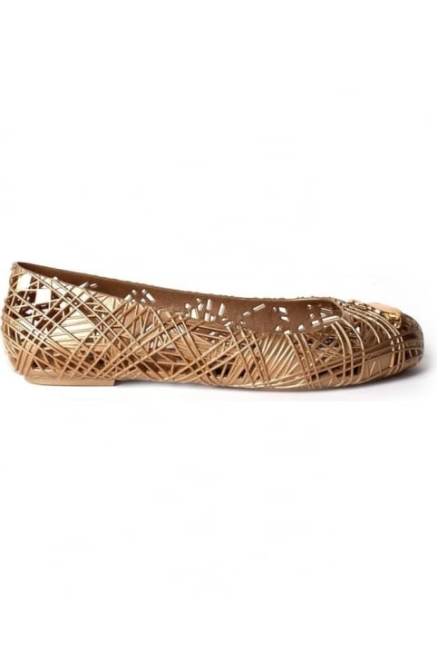 Scribble Women's Orb Logo Detail Slip On Shoe Gold