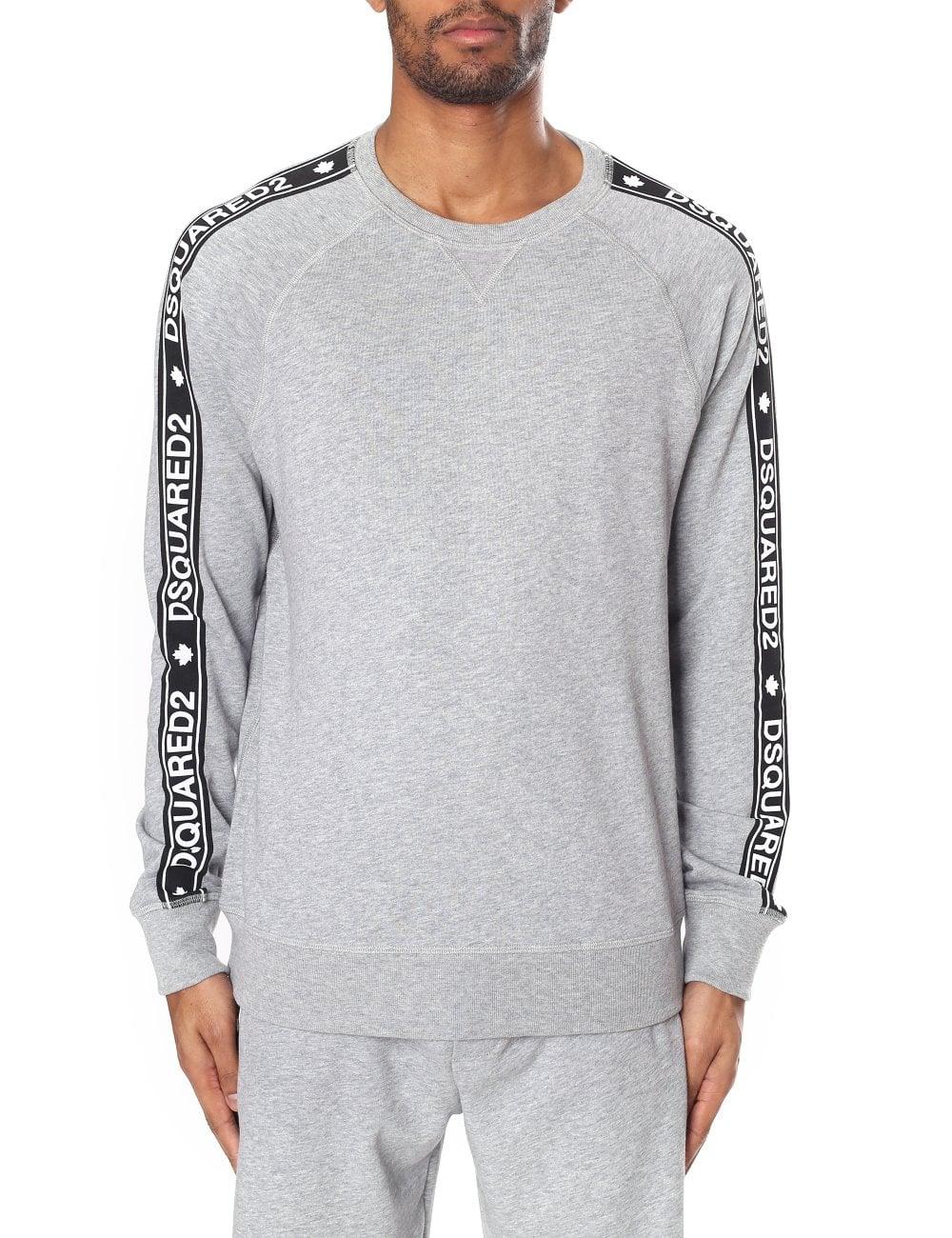 374c7c6b8428de DSquared2 Men's Logo Tape Crew Neck Sweatshirt