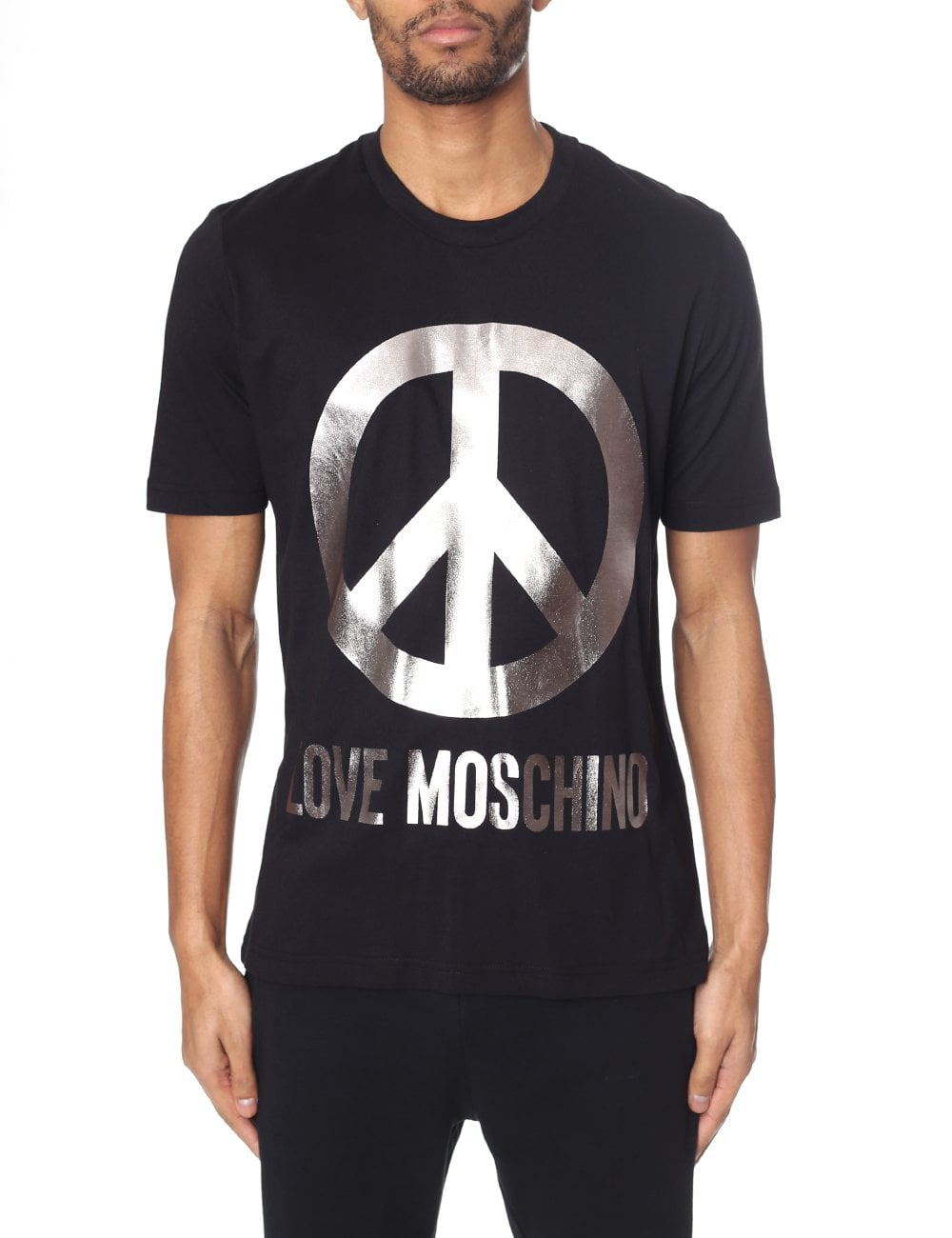 87da4a77 Love Moschino Men's Metallic Peace Logo Tee