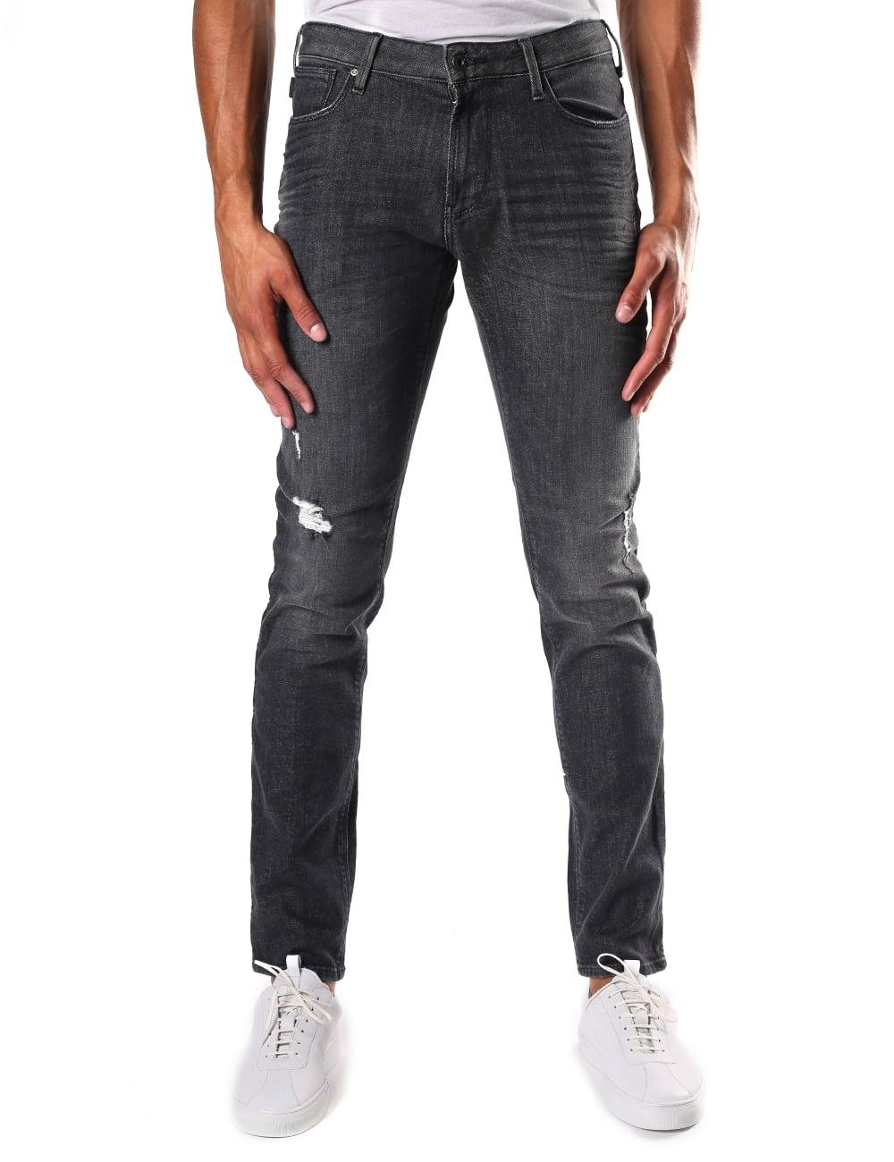 4033dfc1d5 Armani Jeans Men's Slim Fit Distressed Jean