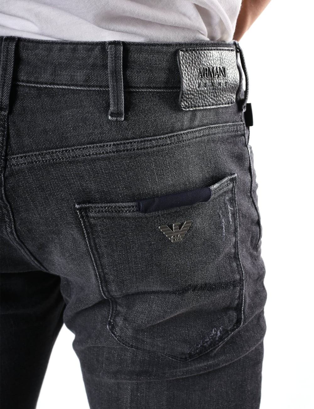 e08f34a4 Armani Jeans Men's Slim Fit Distressed Jean